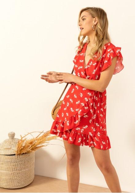 9a3fddc6ee4a Φόρεμα floral κρουαζέ δέσιμο ...