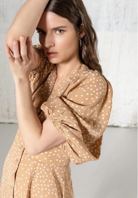 Φόρεμα πουά midi