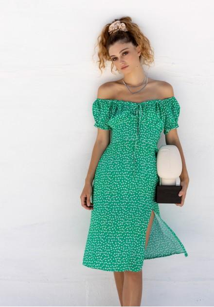Φόρεμα midi με σούρα στο στήθος