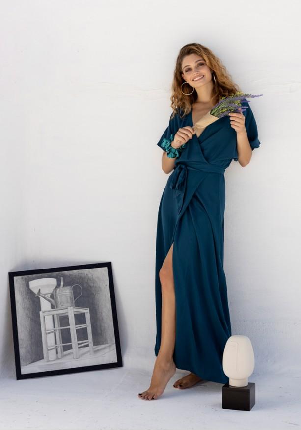 Φόρεμα με δέσιμο ντραπέ