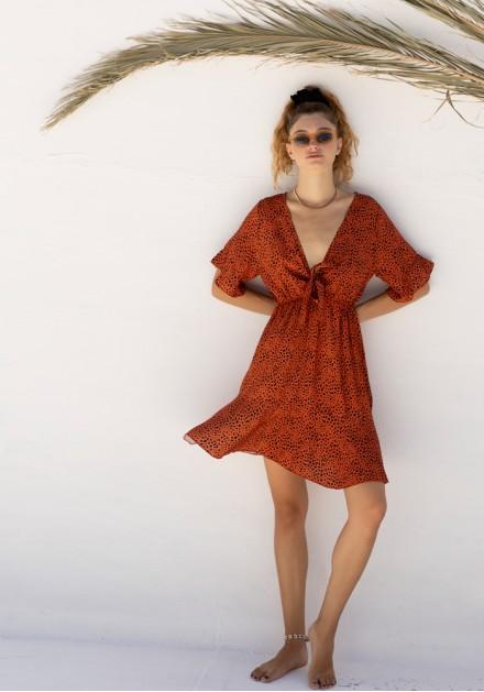 Φόρεμα χαλαρό δέσιμο στο στήθος