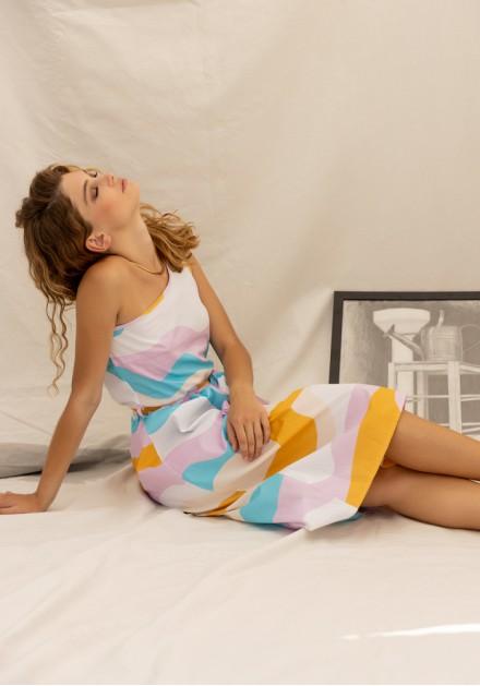 Φόρεμα ένα ώμο ρίγες