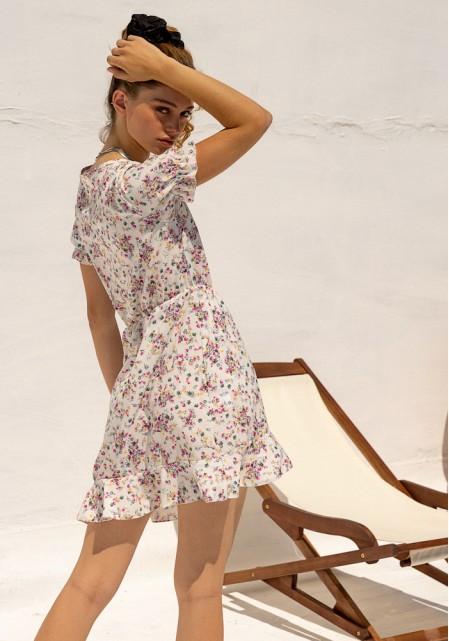 Φόρεμα floral με ντραπέ δέσιμο
