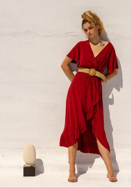 Φόρεμα ασύμμετρο με ζώνη