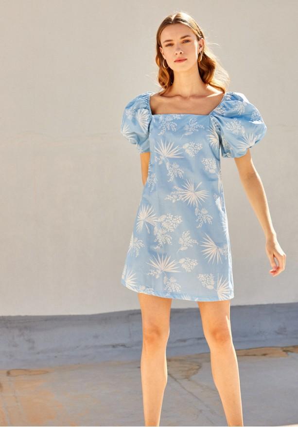 Φόρεμα mini με φουσκωτά μανίκια