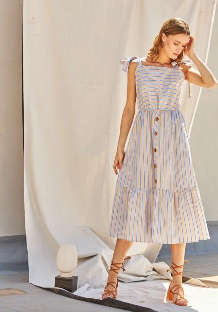 Φόρεμα midi ριγέ