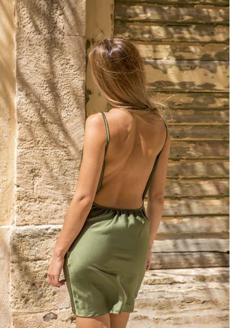 Φόρεμα με ανοιχτή πλάτη σατινέ