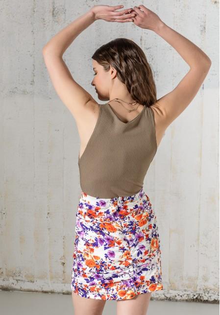 Φούστα floral με σούρες