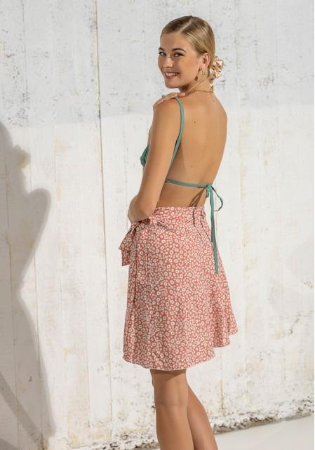 Φούστα floral με δέσιμο