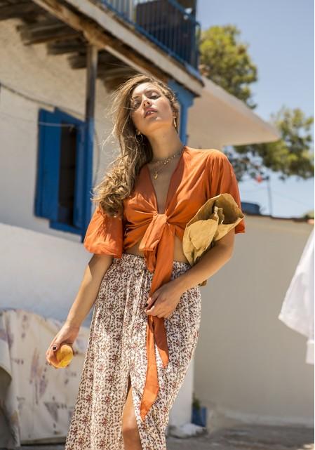 Φούστα floral με άνοιγμα μπροστά