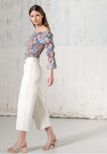 Jeans παντελόνι ζιπ κιλότ