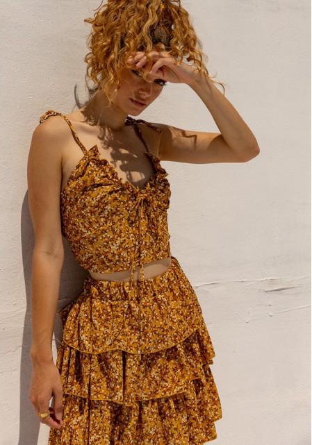Σετ φούστα με τοπ floral mini