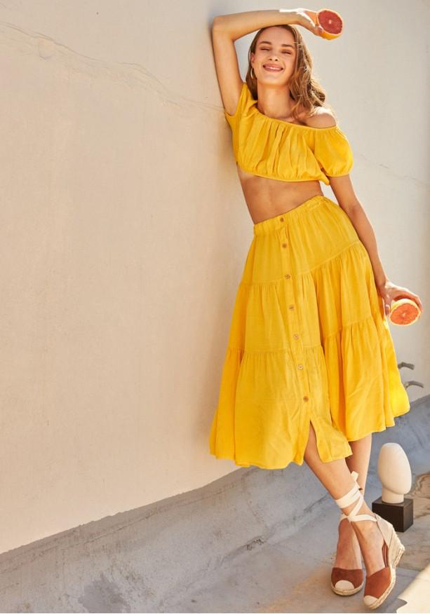 Σετ φούστα με τοπ κίτρινο