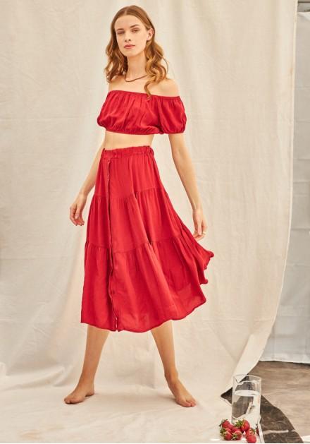 Σετ φούστα με τοπ κόκκινο