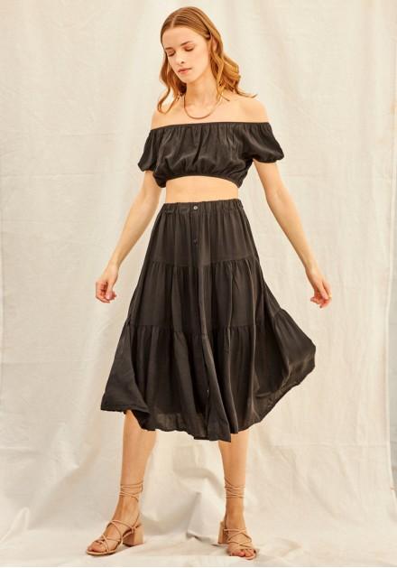 Σετ φούστα με τοπ μαύρο
