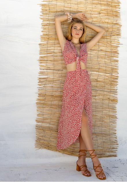 Σετ φούστα με τοπ floral κόκκινο
