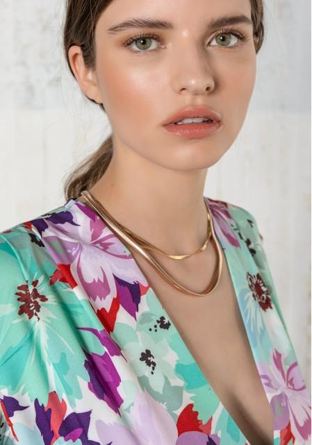 Κορμάκι floral με φουσκωτούς ώμους