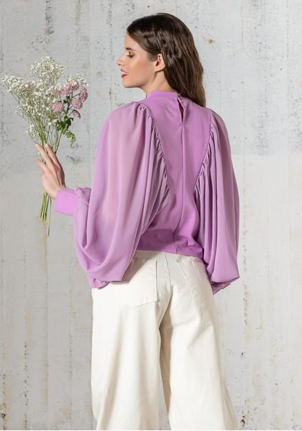 Μπλούζα με μανίκια διαφανή