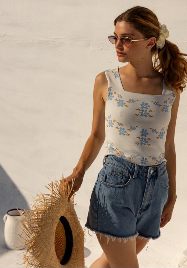 Μπλούζα floral ελαστική