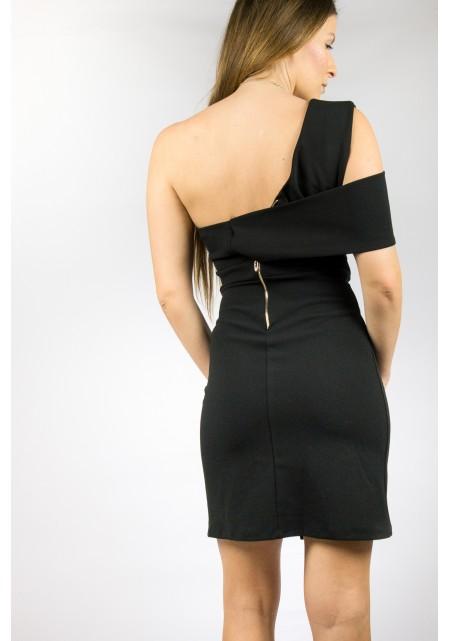 Μαύρο βισκόζ ελαστικό φόρεμα