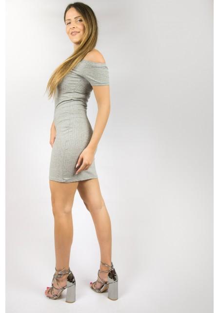 Off shoulder cotton φόρεμα