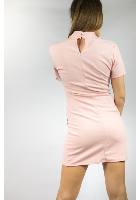 Ροζ/nude φόρεμα βισκόζ ελαστικό