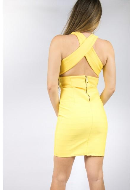 Κίτρινο bandage φόρεμα