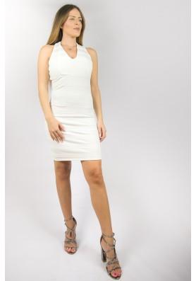 Λευκό βισκόζ ελαστικό φόρεμα
