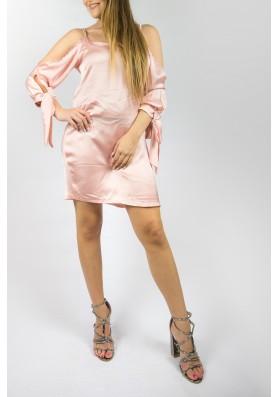 Satine off shoulder ροζ φόρεμα