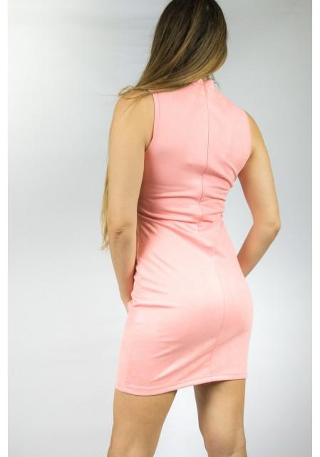 Suede αμάνικο φόρεμα choker