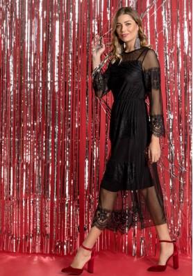 Midi φόρεμα διαφάνεια