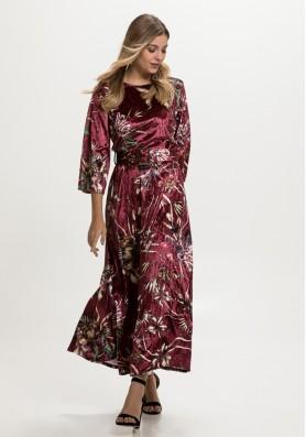 Floral βελούδινο φόρεμα