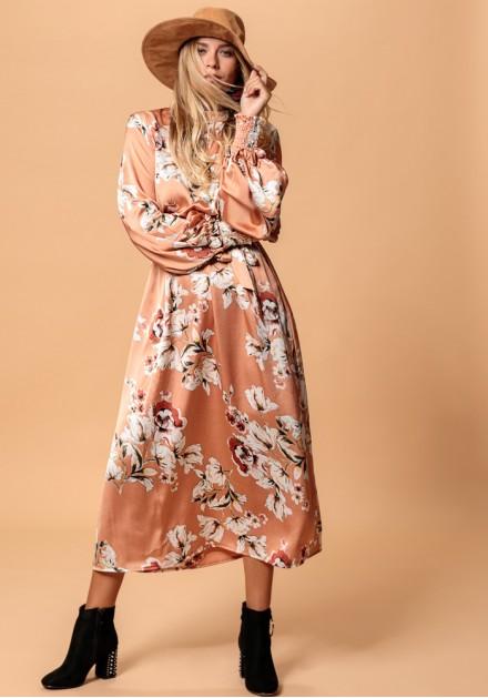 Σατέν φόρεμα Floral
