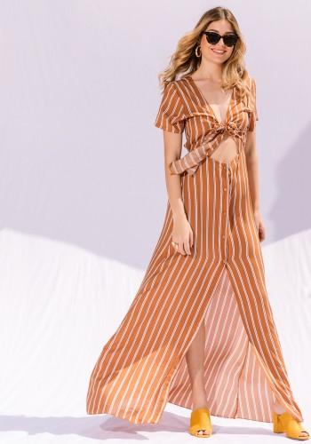 Maxi Ριγέ Φόρεμα