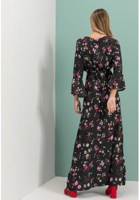 Maxi Floral φόρεμα κρουαζέ