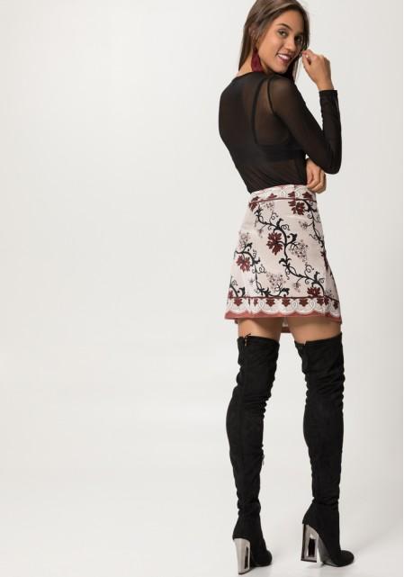 Βελούδινη floral φούστα