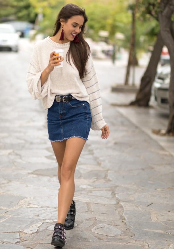 Jean mini φούστα