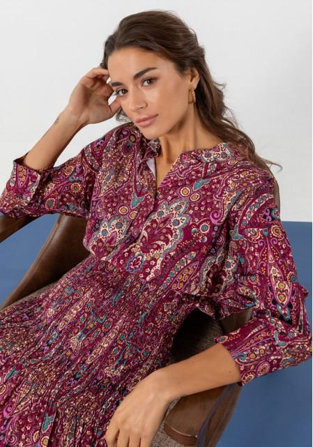 Φόρεμα floral σφηκοφωλιά