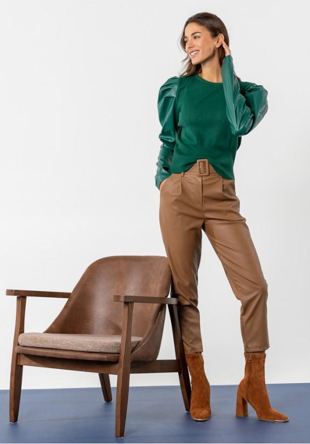 Παντελόνι δερμάτινη όψη με ζώνη