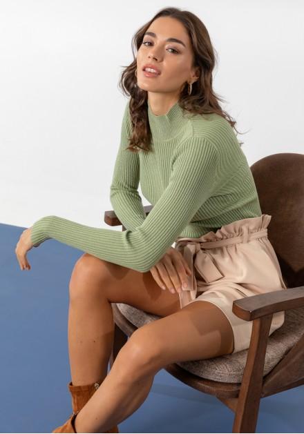 Μπλούζα ζιβάγκο γυαλιστερή πλέξη