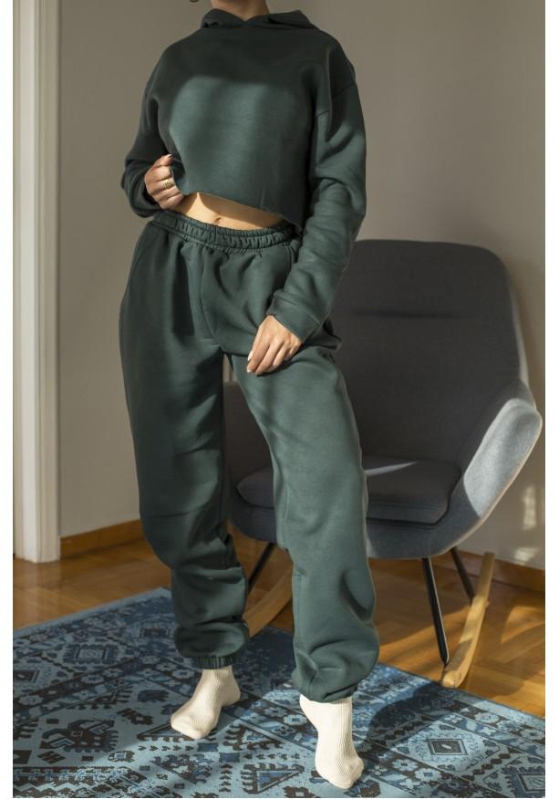 Σετ παντελόνι λάστιχο & φούτερ με κουκούλα