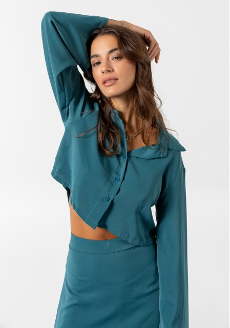 Σετ satine πουκάμισο & mini φούστα