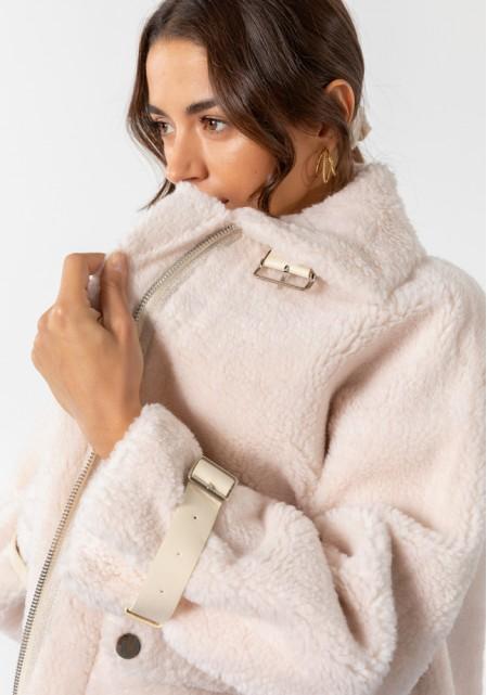 Μπουφάν oversize με γούνινη υφή