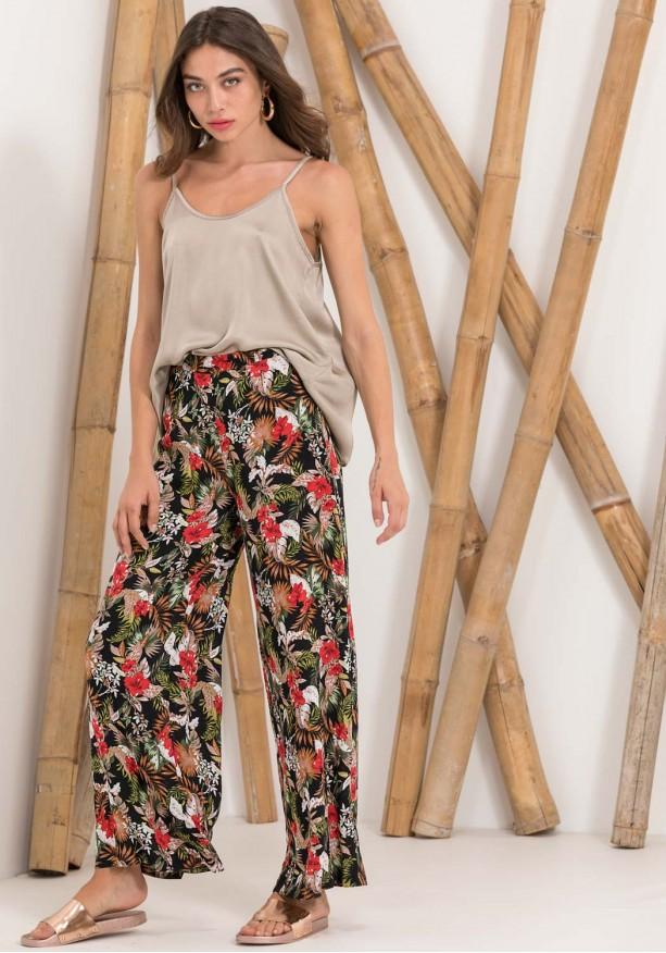 Floral αέρινη παντελόνα