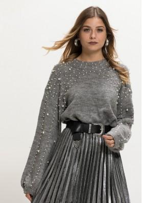 Πλεκτό πουλόβερ πέρλα