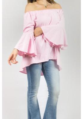 Ροζ Off shoulder πουκαμίσα
