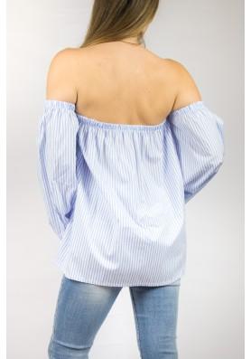 Γαλάζια off shoulder πουκαμίσα