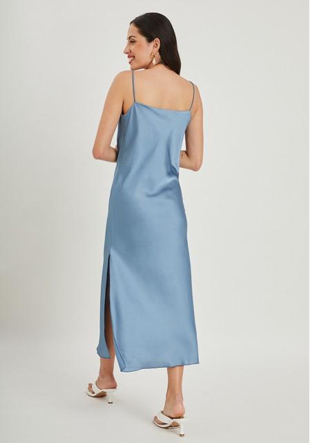 Φόρεμα midi σατινέ υφή