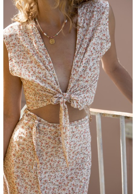 Σετ φούστα με τοπ δέσιμο floral