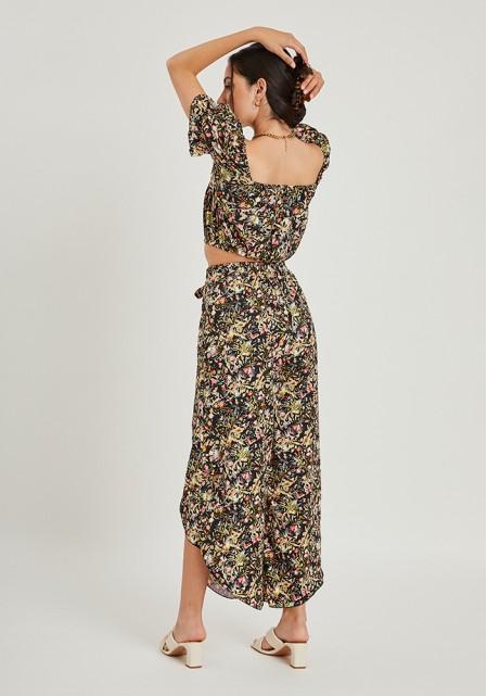 Σετ παντελόνα με ανοίγματα & crop top